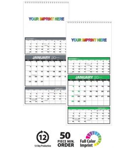 "Product: 1CUST208 3-Month View 12-Photo 2018 Calendar Custom photo calendar with basic setup & PDF proof included! Our custom full color 3-month view calendar is based on a 12-sheet calendar with three months on each sheet (current, previous, and next); spiral on the 7"" side with a drilled hole for hanging. This calendar prints in four-color process on one side of each sheet. The custom calendar uses 12 full-color images and a top ad copy imprint. Custom images cannot bleed. Your choice of…"