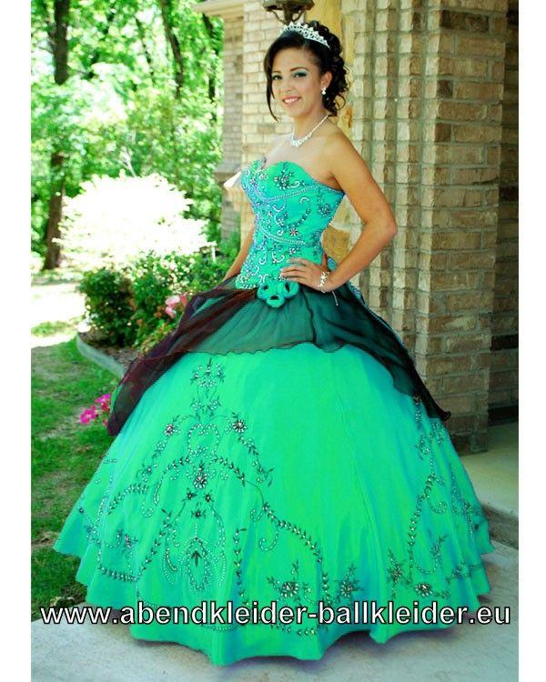 Hell Grünes Duchesse Sissi Kleid Ballkleid Weites Abendkleid mit Stickereien