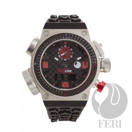 FERI Red Line - Speed Watch - Black / Silver  - 3 Swiss movements - 6 compounds construction including Titanium case - Genuine carbon fibre on the Basel and throughout the face - Silicon strap with square buckle - 10 ATM of water resistance - Light and comfortable - A genuine sports watch with multi functions - 3 year limited manufacturer warranty - Hypoallergenic  Invest with confidence in FERI Designer Lines.   www.gwtcorp.com/ghem or email fashionforghem.com for big discount