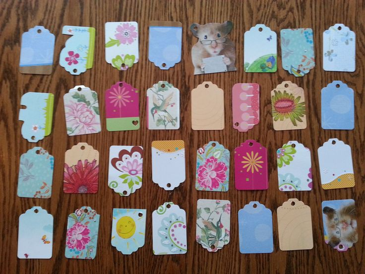 gift tags made from old greeting cards