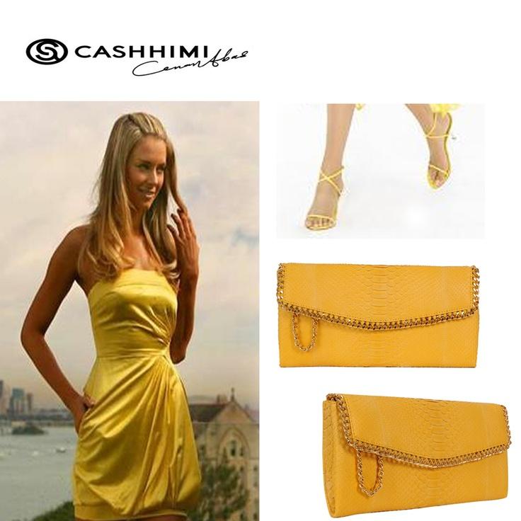 Cashhimi Yellow DOHENY Python Clutch