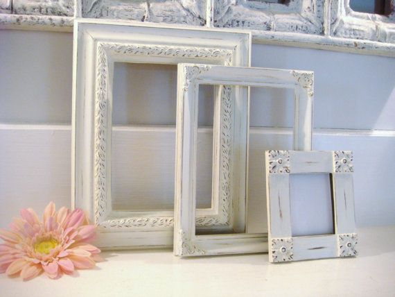 distressed frames, white frames, picture frame collection, shabby chic frames, upcycled frames, 5x7 frame by NiftyandThriftyFinds on Etsy https://www.etsy.com/listing/126272993/distressed-frames-white-frames-picture