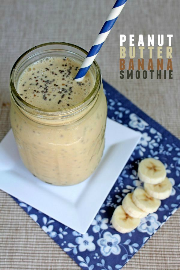 Peanut Butter Banana Smoothie recipe -- Perfect breakfast or mid-afternoon protein snack! This recipe has no sugar.
