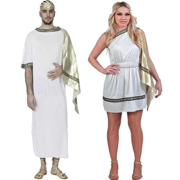 DisfracesMimo, disfraz de pareja de romanos baratos hombre y mujer adultos.Estos disfraces son perfectos para trasladarte a la antigua Roma o para convertirte en una auténtica Diosa del Olimpo Griego en Fiestas de Disfraces Temáticas o Carnaval.Este disfraz es ideal para tus fiestas temáticas de disfraces romanos y egipcios para parejas de hombre y mujer.