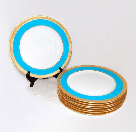 Minton Tiffany Blue Gold Dinner Plates Set of SIX Antique Dining & Entertainment Gilded Age Luxury Goods Fine China Wedding Gift c.1895-1900
