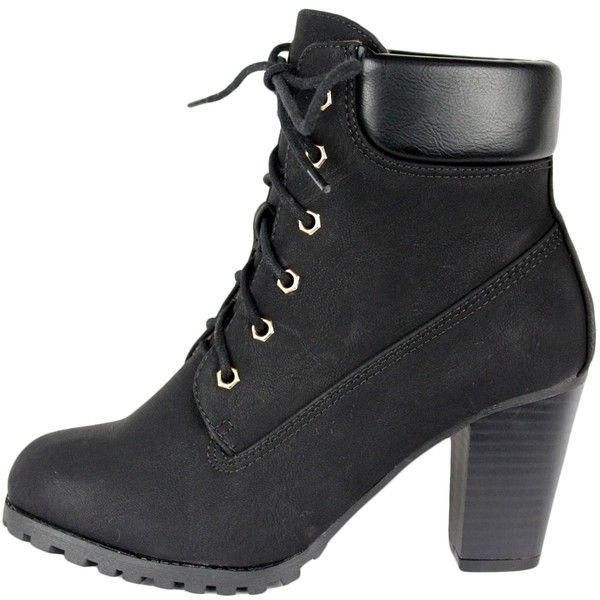 Womens Faux Leather Lace Up Rugged High Heel Ankle Boots Black ($28) via Polyvore