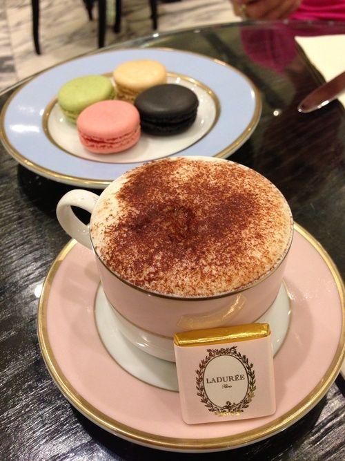 Macarons and Cafe au lait at Laduree, Paris, France.