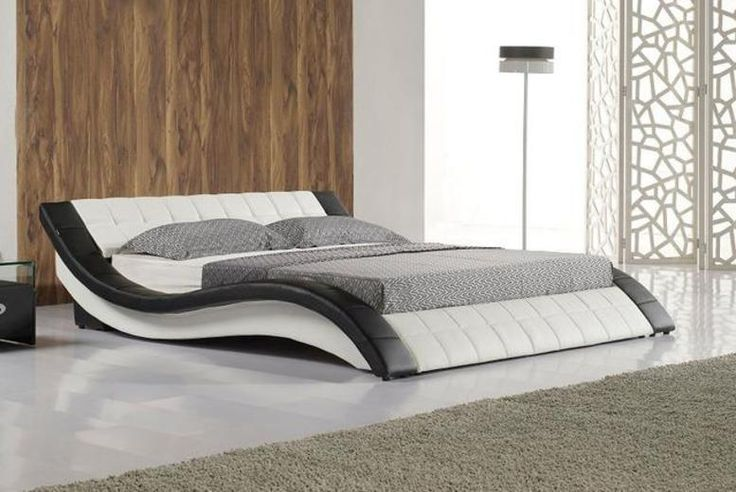 Curved Faux-Leather Bed