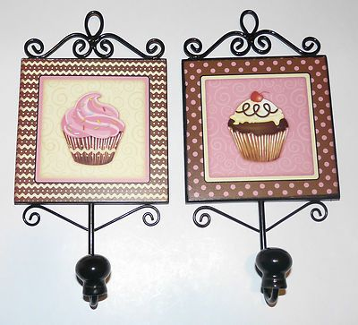Cupcake Kitchen Decor Brown Pink Polka Dot Hooks Chic Shabby Set Of 2