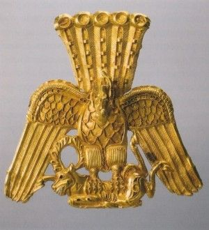Scythian Gold Plaque in the shape of the griffin, tearing a goat. Gold, 1st century BC, found in the rivers Irtysh and Ob- Siberia and Kazakhstan. Siberian collection of Peter I. State Hermitage Museum of St. Petersburg