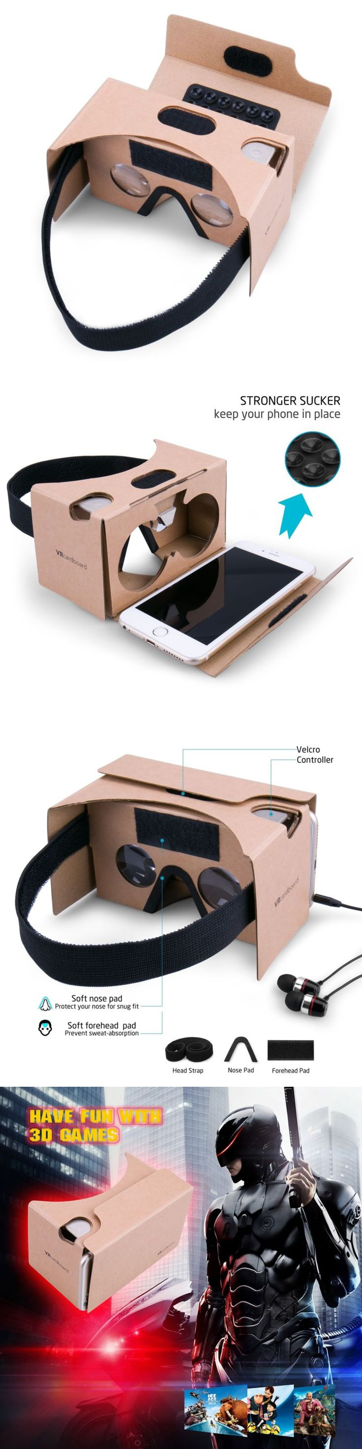 3D TV Glasses and Accessories: Google Cardboard, Splaks 3D Vr Virtual Reality Glasses V2 With Sucker Head Strap -> BUY IT NOW ONLY: $32.83 on eBay!
