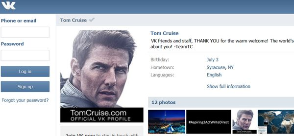 Tom Cruise digging social networking in RUSSIA