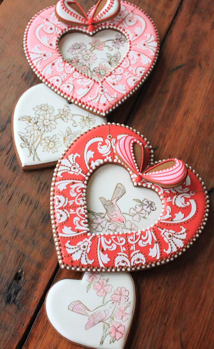 A Video by Julia M Usher: How to Rubber-Stamp and Dust a Heart Cookie (These cookies are the inserts in my 3-D Cookie Heart Box lids, the video for which is linked to this video!)
