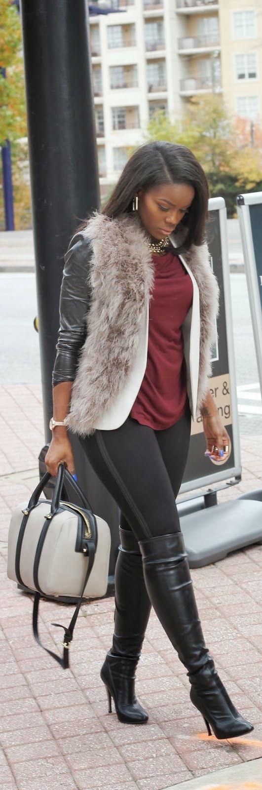 Faux Fur & Leather  Vest | Forever 21Blazer | H&MTop + Pants | ZaraHandbag | ZaraBoots | Nine West Fashion Trend by Lover4Fashion