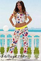 Женский белый летний костюм в цветочек Сицилия 43927341