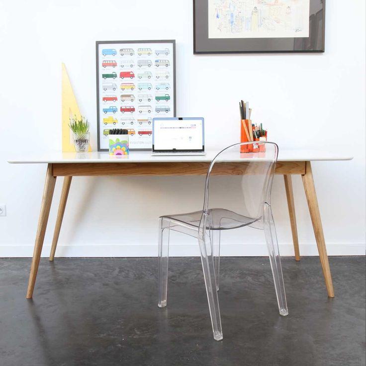 Table à manger design scandinave bois et laque blanche Skoll Blanc Drawer