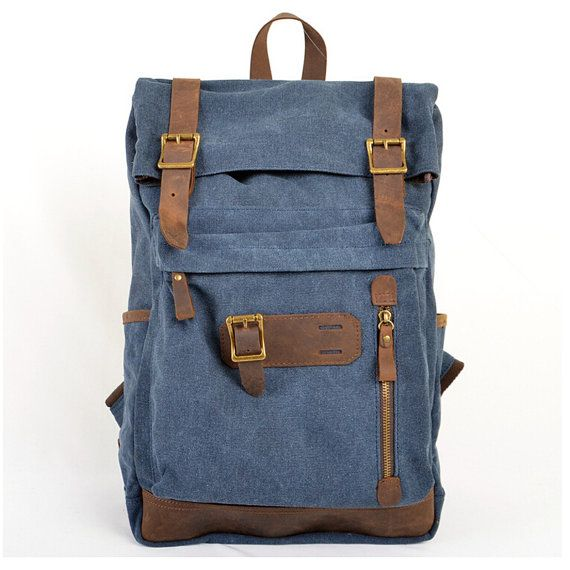 Color: Blue Material: High density canvas, wind horsehide Uses: backpack, travel, outdoor, backpack, student work Dimensions: length 28 cm, 45 cm