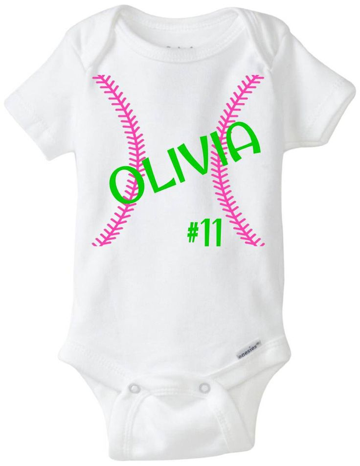 """Baby Girl Softball Jersey Onesie """"Personalized Stitches"""" bodysuit shirt in Pink & Lime Green - Baby Shower Gift idea - Preemie Size Avail by LittleFroggySurfShop on Etsy https://www.etsy.com/listing/221374324/baby-girl-softball-jersey-onesie"""