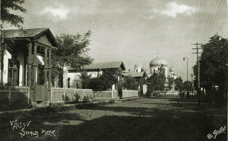 Plasa Chilia Nouă. Vâlcov. Școala Medie și Biserica ortodoxă Sfântul Nicolae