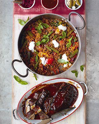 Glazed pork fillet, cajun-style pepper rice & bbq sauce - by Jamie Oliver