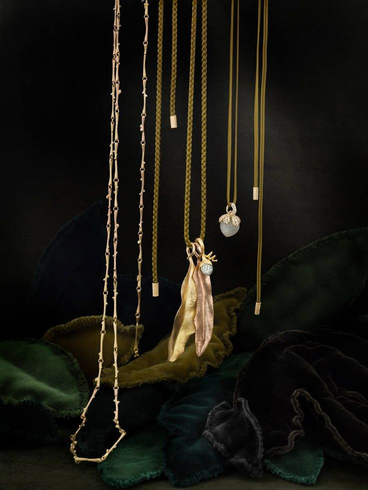 Ole Lynggaard Copenhagen leaf in gold and rose gold, golden strands, sweet drop and nature collection necklace available from www.masterjewellers.com.au/‎
