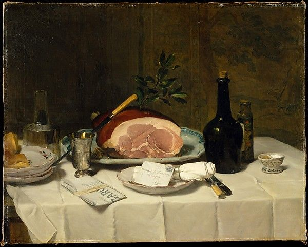 Still Life with Ham, Philippe Rousseau (French, Paris 1816–1887 Acquigny)