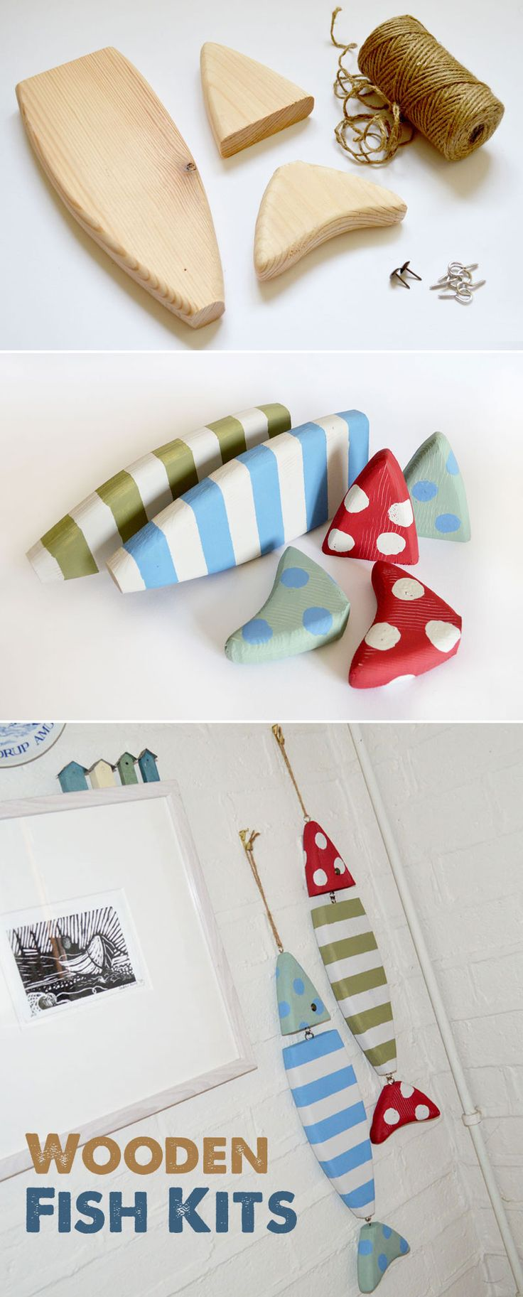 Handmade Wooden Fish Kits - custom paint or decopatch to suit your own decor. Create an almost beach house feel to your kitchen, livingroom or bathroom. http://mollymoo.ie/wooden-fish-kits/