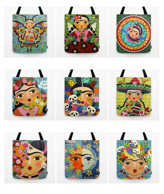 50% off Sale 10 different styles of Frida Kalho tote bags by LuLu MyPinkTurtle
