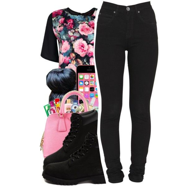 Untitled #205 by mb-misfit on Polyvore featuring polyvore fashion style Boohoo Dr. Denim Timberland Prada Pink Boots skinnyjeans bun timberlands