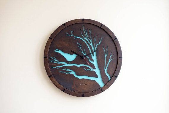 Modern Wall Clock Bird blue Large Wall Clock Wooden by Lines4room