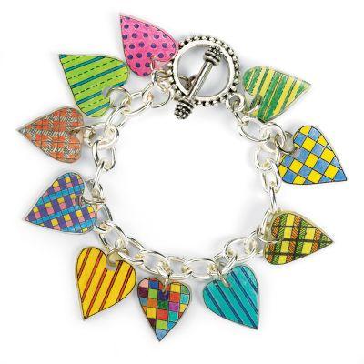 Shrinky Dink Heart Charm Bracelet