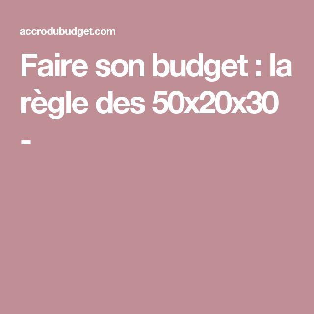 Faire son budget : la règle des 50x20x30 -