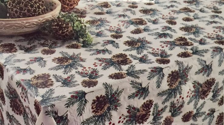 PINE CONE VINYL TABLECLOTH 70IN ROUND CHRISTMAS HOLIDAY by CELEBRATE THE SEASON #CelebratetheSeason