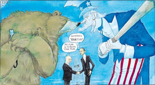 8 September 2013 - Riddle on the US and Russian deadlock over Syria. The Russian Bear holds Assad away from Uncle Sam who yields a bat.