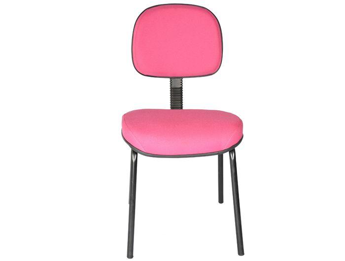 Cadeira 4 Pes Fixa Secretária Escritório Ergonomica Simples