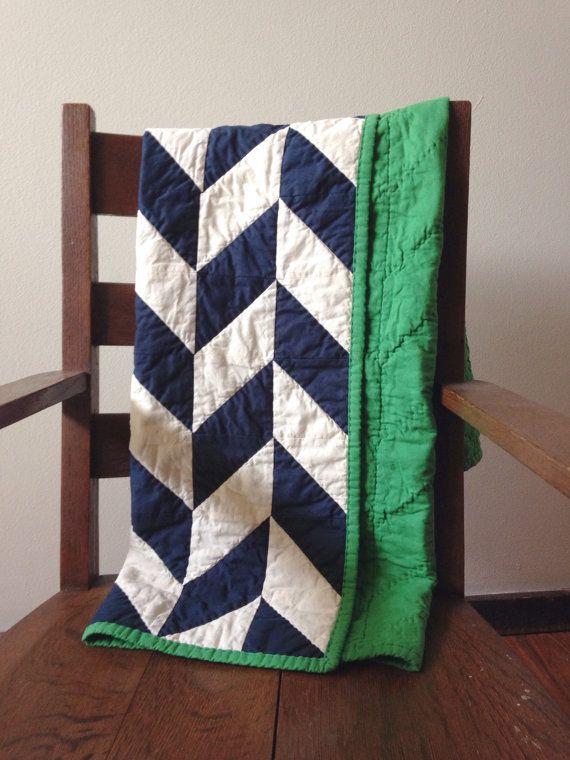 Handmade Herringbone Quilt, Baby Quilt, Gender Neutral, boy quilt, navy blue, all natural, muslin and cotton