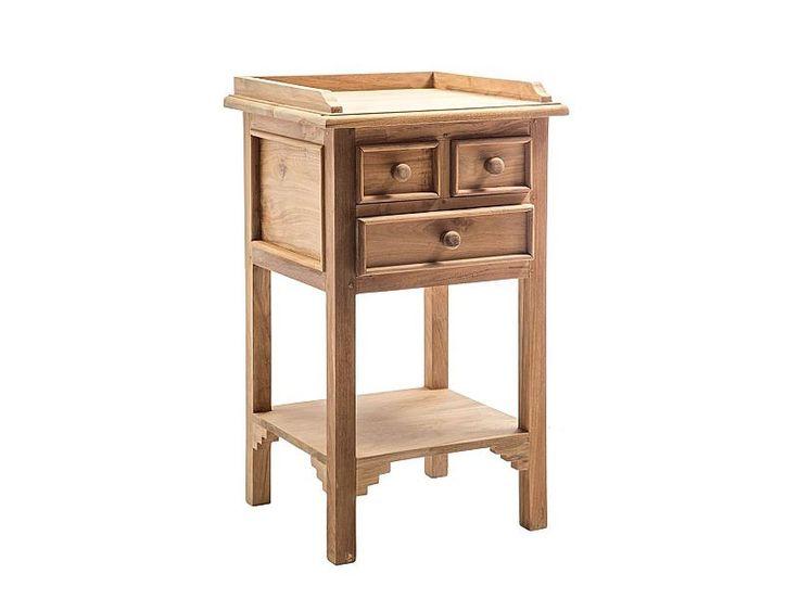 Mesita de noche DECO, elaborada con madera de teca y diseño vintage.  Taller de las Indias. http://www.aqdecoracion.es/mesita-de-noche-en-madera-de-teca-deco_2694.html  #mueblesdeteca #mesitasdenoche #mueblesauxiliares #mueblesvintage #decoraciondelhogar #decoraciondeinteriores #decoracionydiseño #homedecor #homedesign