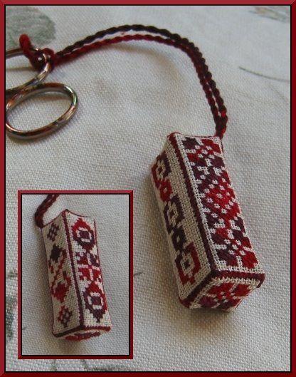Unique cross stitched scissor fob