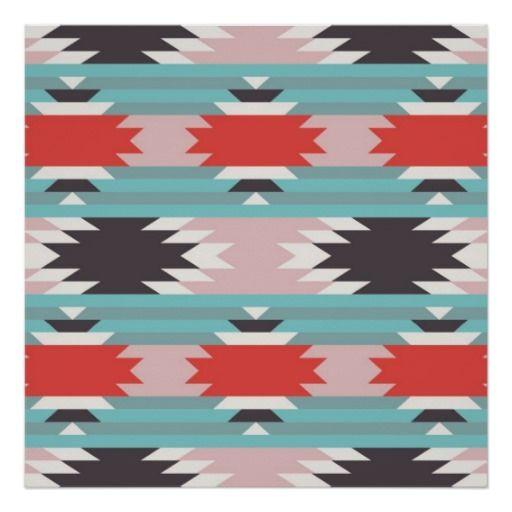 Native American Art Prints   Aztec Tribal Pattern Native American Prints from Zazzle.com