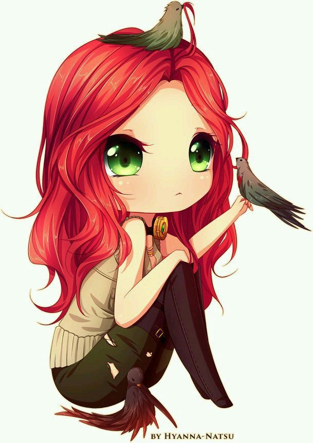 Anime Characters With 3 Eyes : Chibi girl red hair green eyes pinterest