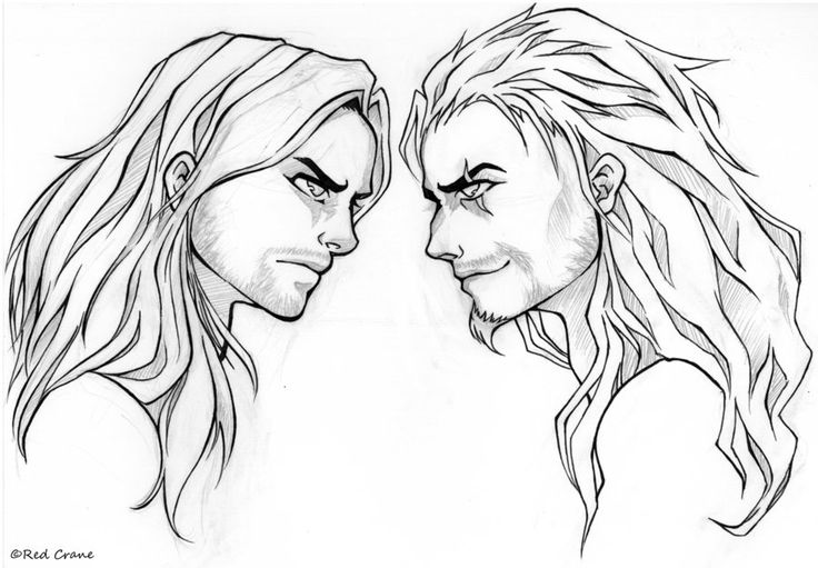 Scar and Mufasa Face-Off (line art) by Red-Crane.deviantart.com on @DeviantArt