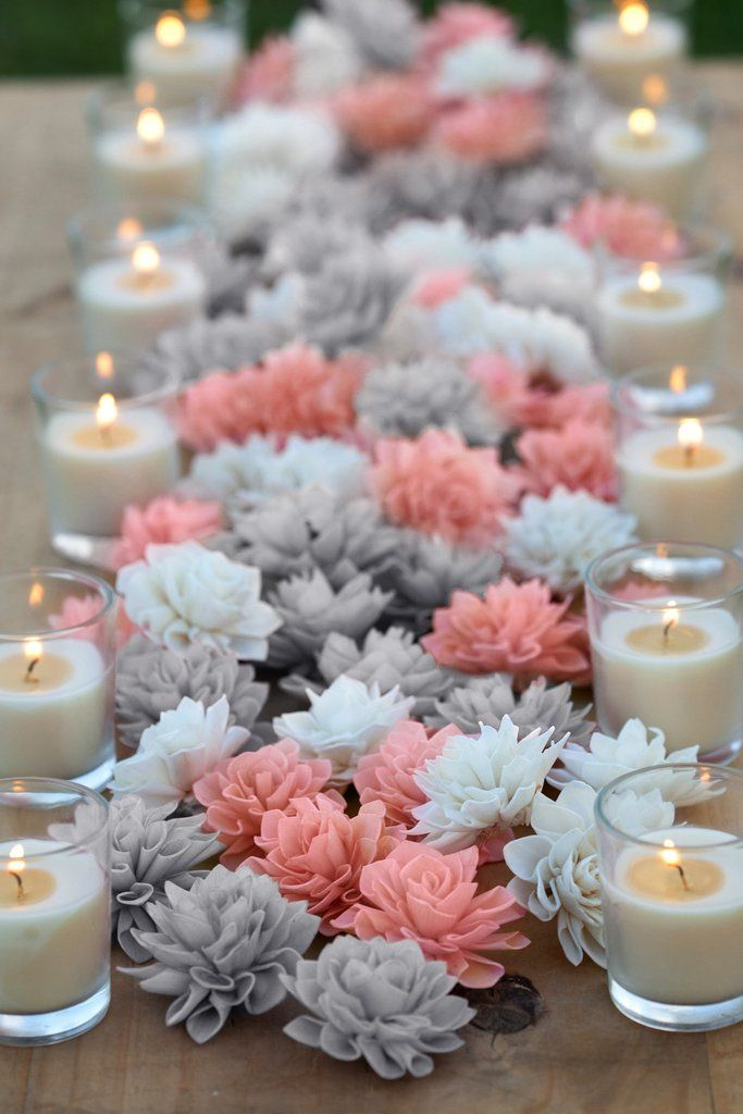 """Create the perfect color combination using our wood flowers! These 3"""" and 4"""" flowers are perfect for wedding, bridal shower or baby shower decor. Resembling a blooming Dahlia, these flowers are ideal"""