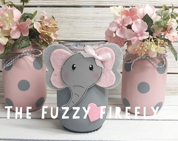 Set of 10 Gray and Pink Elephant Centerpieces