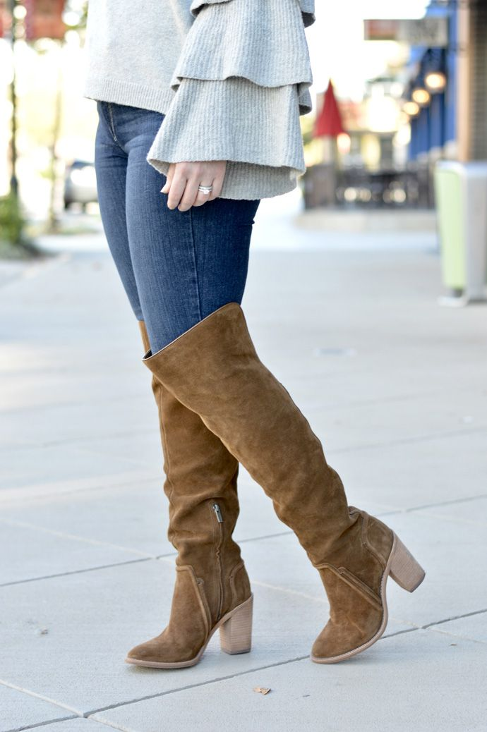05042dadd79 Brown suede over the knee boots with grey ruffle sleeve sweater and high  waisted jeans.