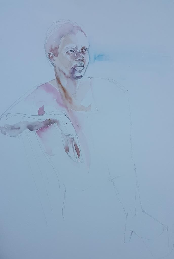 Watercolour sketch of Anna  #watercolour on Bockingford 560x380 #portrait
