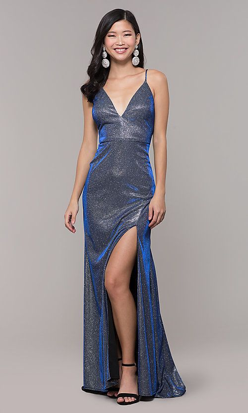 9bc56eb5a Image of long blue and silver metallic v-neck prom dress. Style: DMO-J323057  Front Image