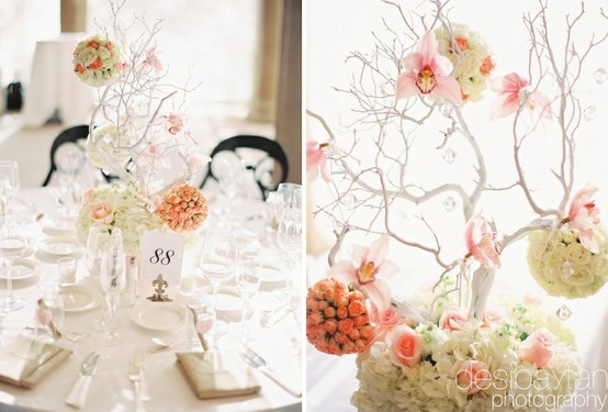 Tree Centerpices for the wedding?: Buzz Tree Centerpieces, Flower Ball, Centerpiece Flowers, Wedding Ideas, Centerpieces Inspiration, Wedding Trees, Party Ideas