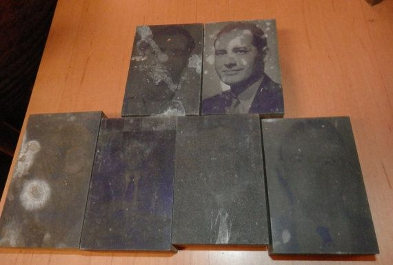 Group of printer type block pictures men, women. lady in wedding gown, an mens oxford shoe, and others by BandCEmporium