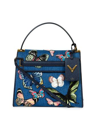 My Rockstud Denim Butterfly Satchel Bag by Valentino at Neiman Marcus.