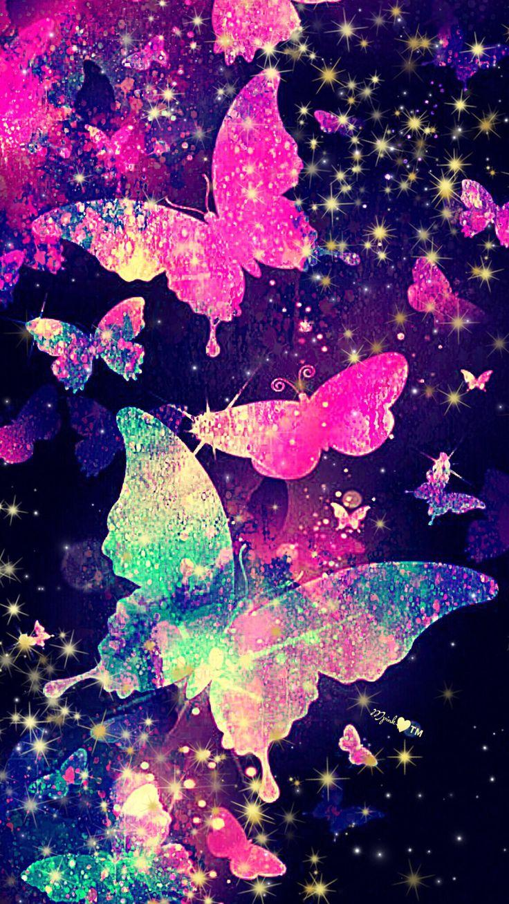 Glitter Butterfly Galaxy Wallpaper #androidwallpaper # ...  Pink